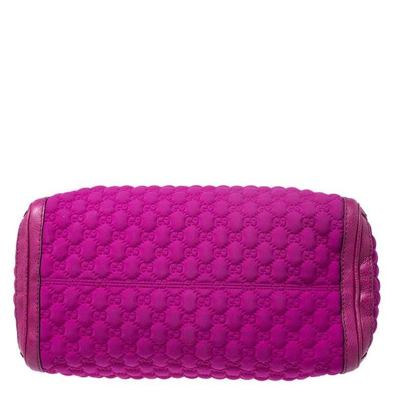 Gucci Magenta Guccissima Neoprene and Leather Medium Techno Tag Boston Bag For Sale 2