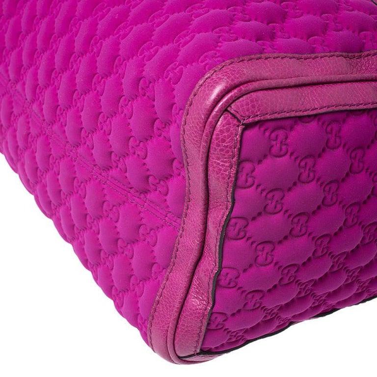 Gucci Magenta Guccissima Neoprene and Leather Medium Techno Tag Boston Bag For Sale 4