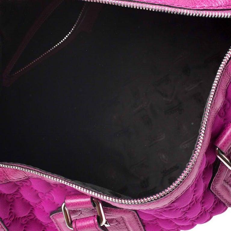 Gucci Magenta Guccissima Neoprene and Leather Medium Techno Tag Boston Bag For Sale 5