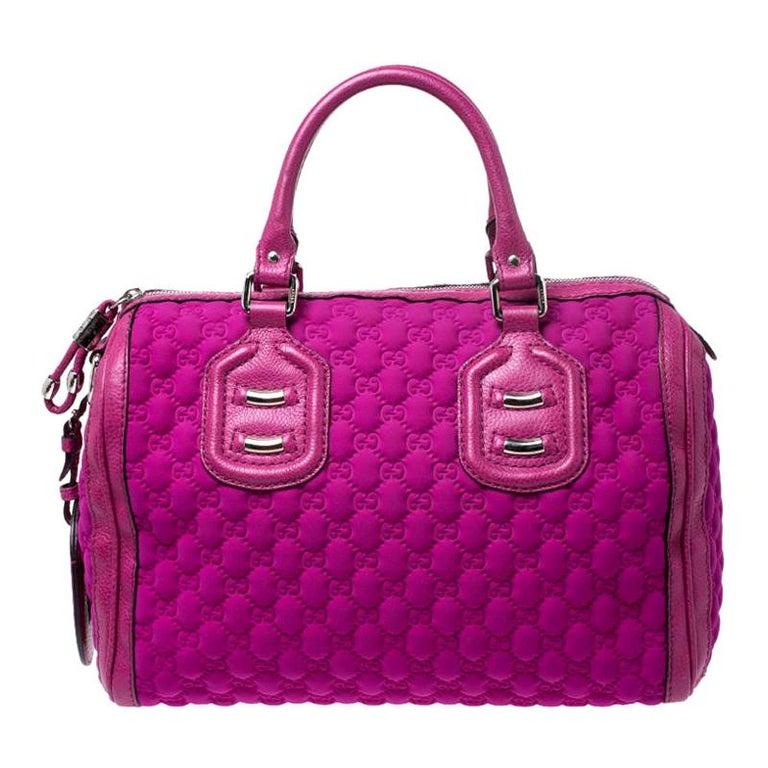 Gucci Magenta Guccissima Neoprene and Leather Medium Techno Tag Boston Bag For Sale