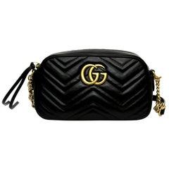 Gucci Marmont Black Matelassè Leather Shoulder Bag