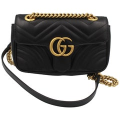 Gucci Marmont Crossbody CBlack Leather  Bag