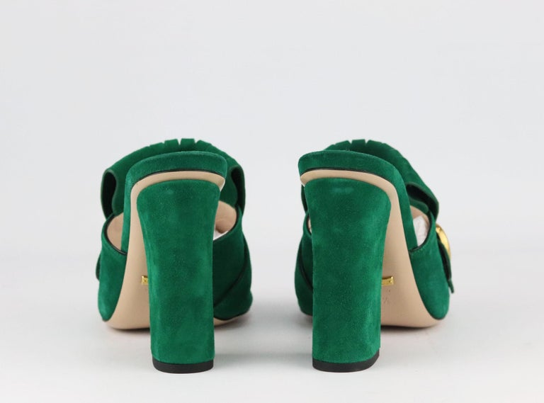 Women's Gucci Marmont Fringed Suede Mules