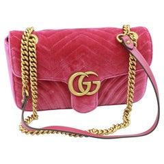 Gucci Marmont GG handbag in pink velvet.