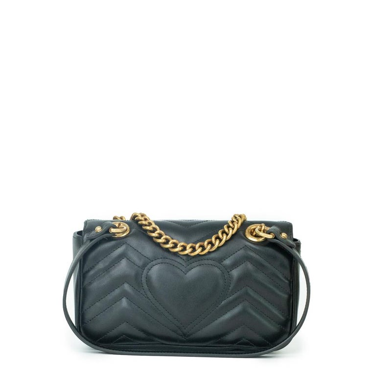 Black Gucci Marmont in black leather For Sale