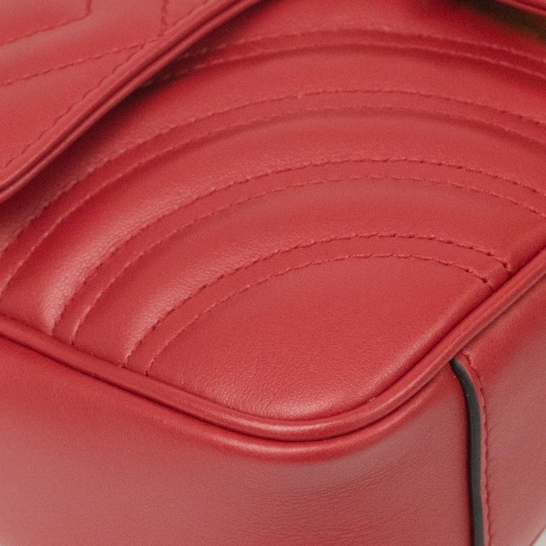 Gucci Marmont in red leather For Sale 5