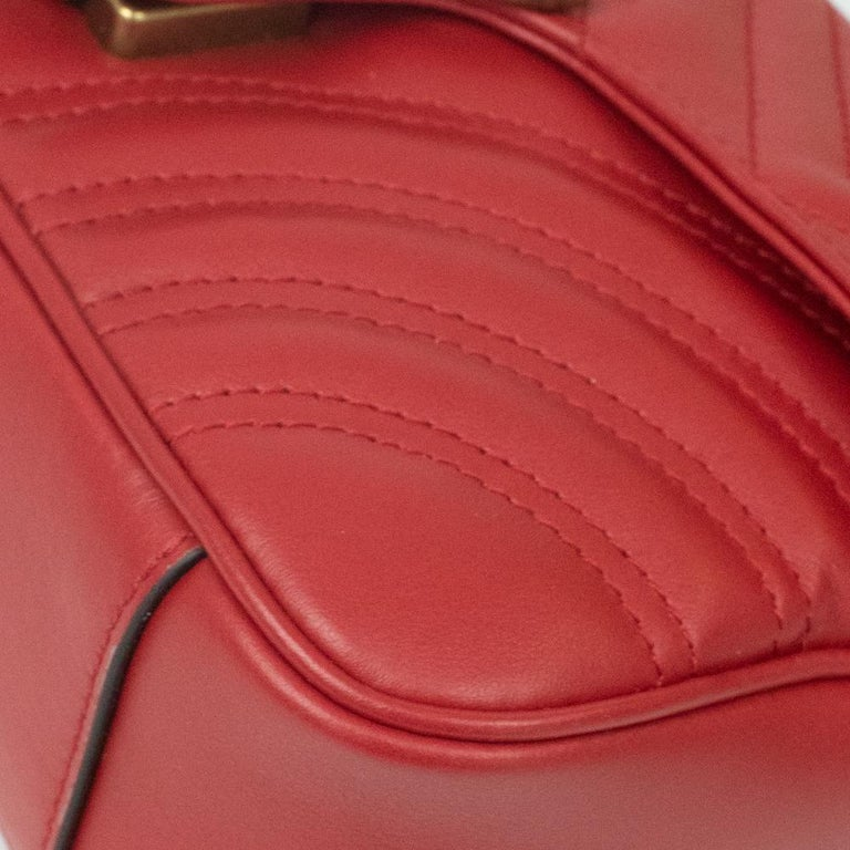 Gucci Marmont in red leather For Sale 6