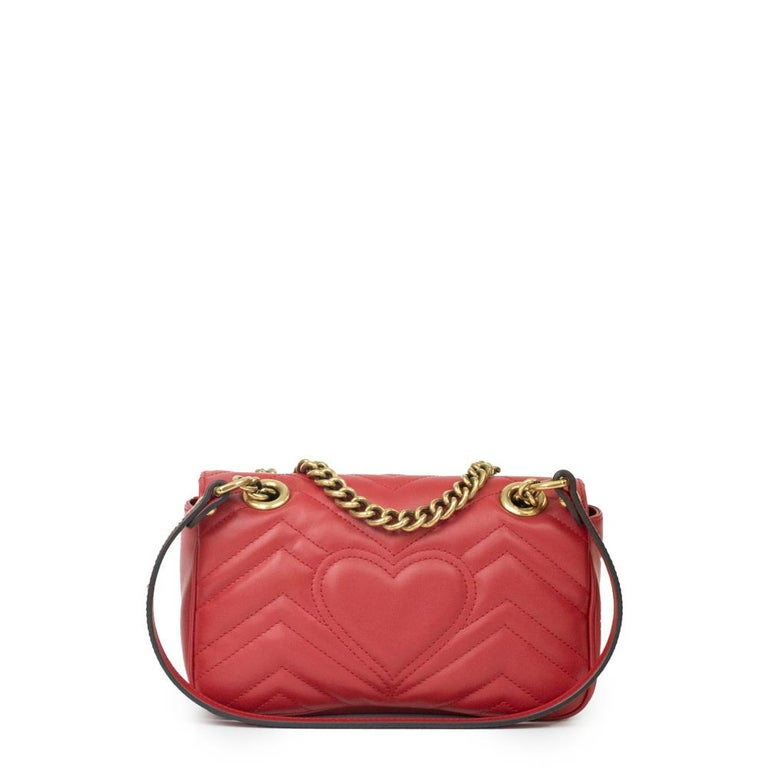 Red Gucci Marmont in red leather For Sale