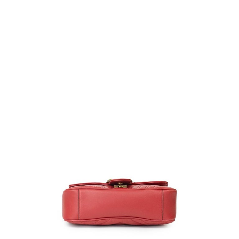 Gucci Marmont in red leather In Excellent Condition For Sale In Clichy, FR