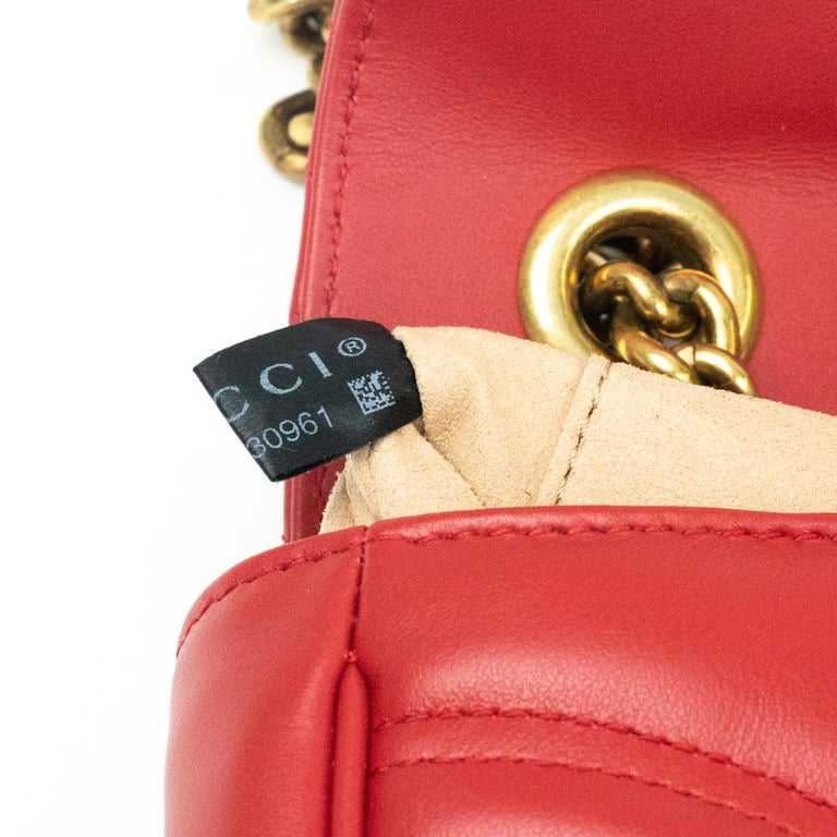 Gucci Marmont in red leather For Sale 3
