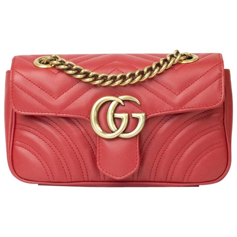 Gucci Marmont in red leather For Sale