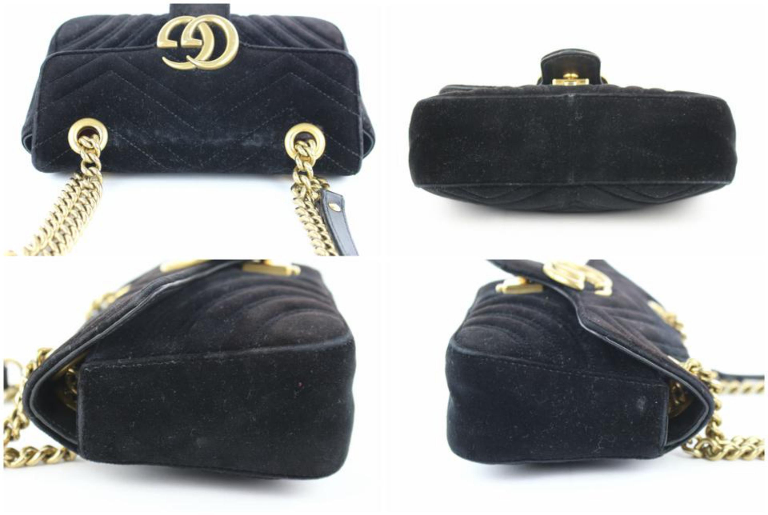 ddbabfa25c3e Gucci Marmont Matelasse Mini Gg 6ge0104 Black Velvet Cross Body Bag For Sale  at 1stdibs