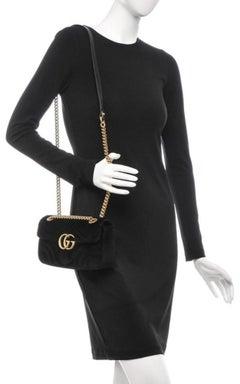 Gucci Marmont Matelasse Mini Gg 6ge0104 Black Velvet Cross Body Bag