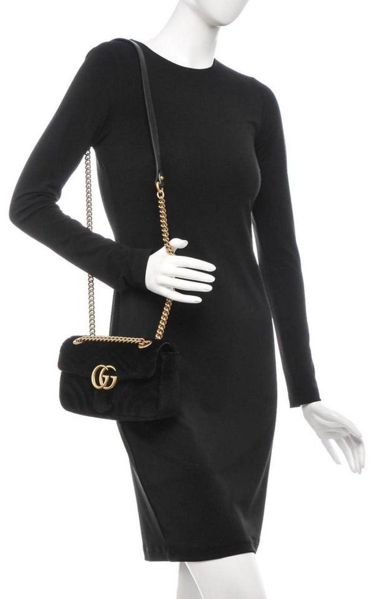 17135de80a78 Gucci Marmont Matelasse Mini Gg 6ge0104 Black Velvet Cross Body Bag For Sale