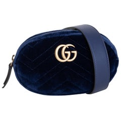 Gucci Marmont Matlasse Navy Velvet Belt Bag
