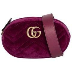 Gucci Marmont Matlasse Rasberry Velvet Belt Bag