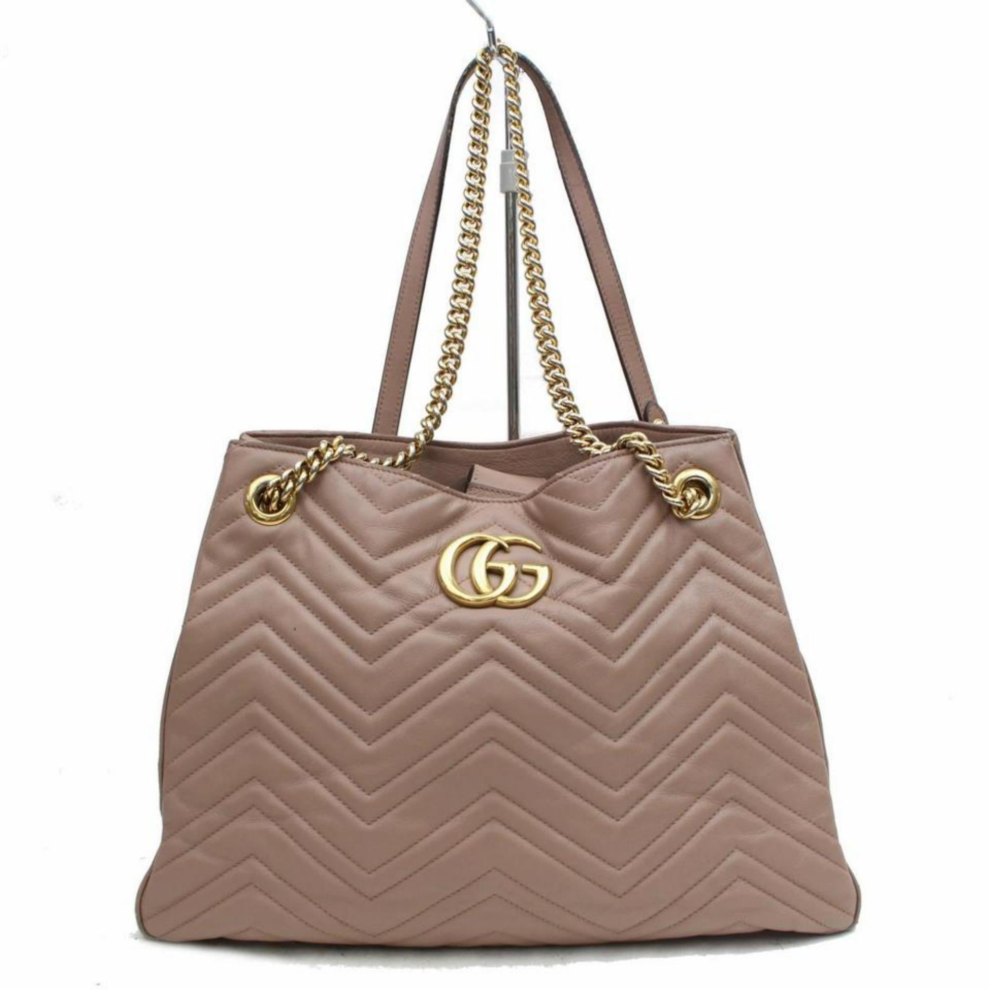 7a78c7f28399 Gucci Marmont Rose Quilted Medium Matelasse Chain Tote 868708 Taupe Shoulder  Bag For Sale at 1stdibs