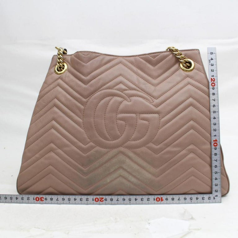 8564954b1d45 Gucci Marmont Rose Quilted Medium Matelasse Chain Tote 868708 Taupe  Shoulder Bag For Sale 2