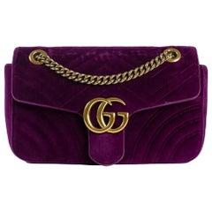 GUCCI Marmont Shoulder bag in Purple Velvet
