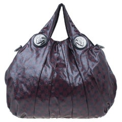 Gucci Maroon Crystal Monogram Large Hysteria Top Handle Bag