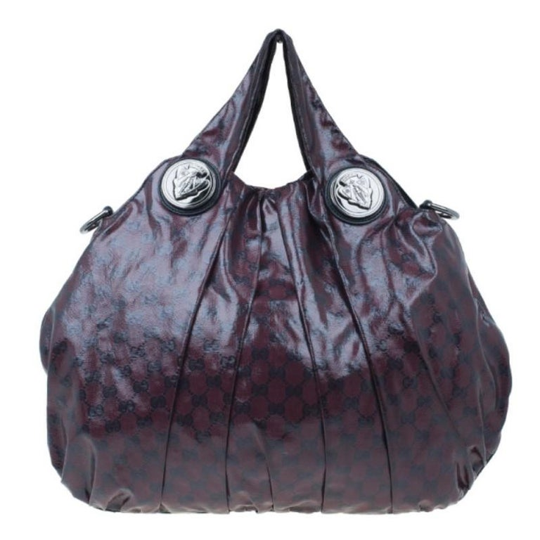 6ef093f5a03 Gucci Maroon Crystal Monogram Large Hysteria Top Handle Bag For Sale ...