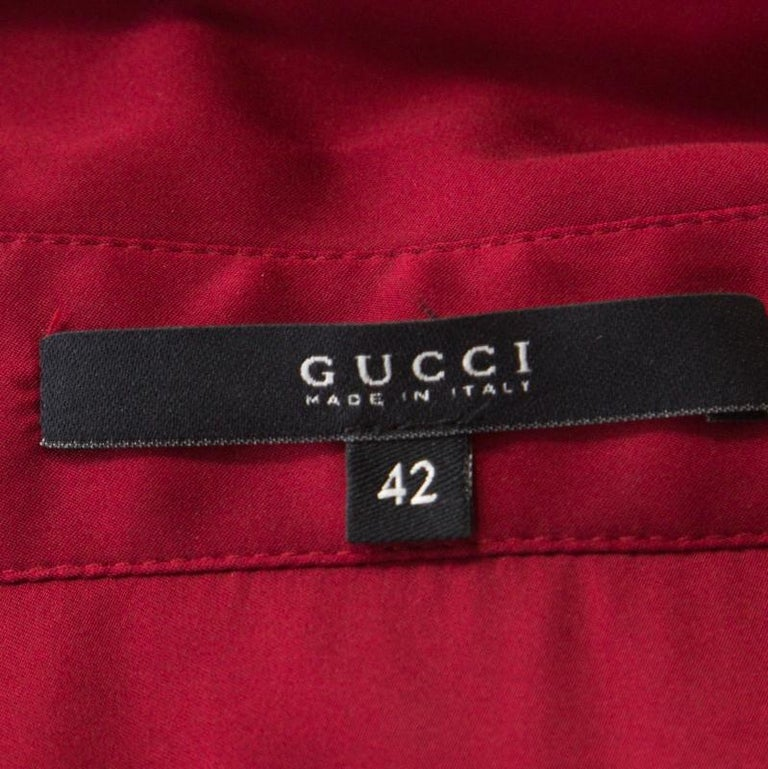 Gucci Maroon Front Tie Detail Short Sleeve Dress M For Sale 1