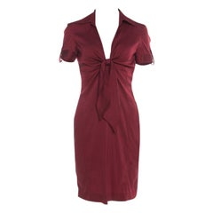 Gucci Maroon Front Tie Detail Short Sleeve Dress M