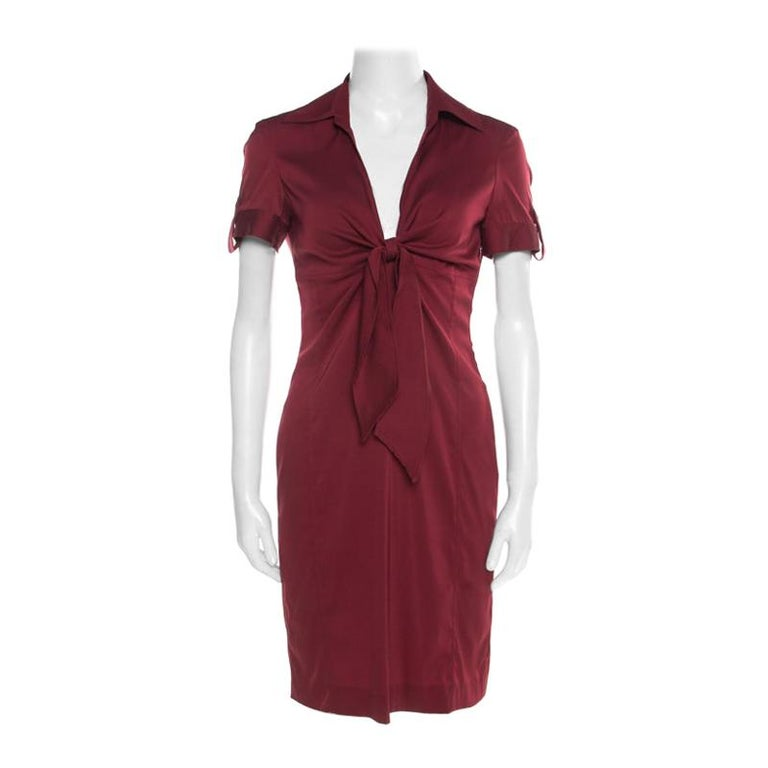 Gucci Maroon Front Tie Detail Short Sleeve Dress M For Sale