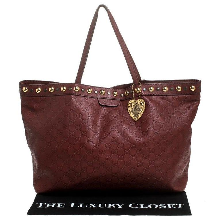 Gucci Maroon Guccissima Leather Large Babouska Tote For Sale 9