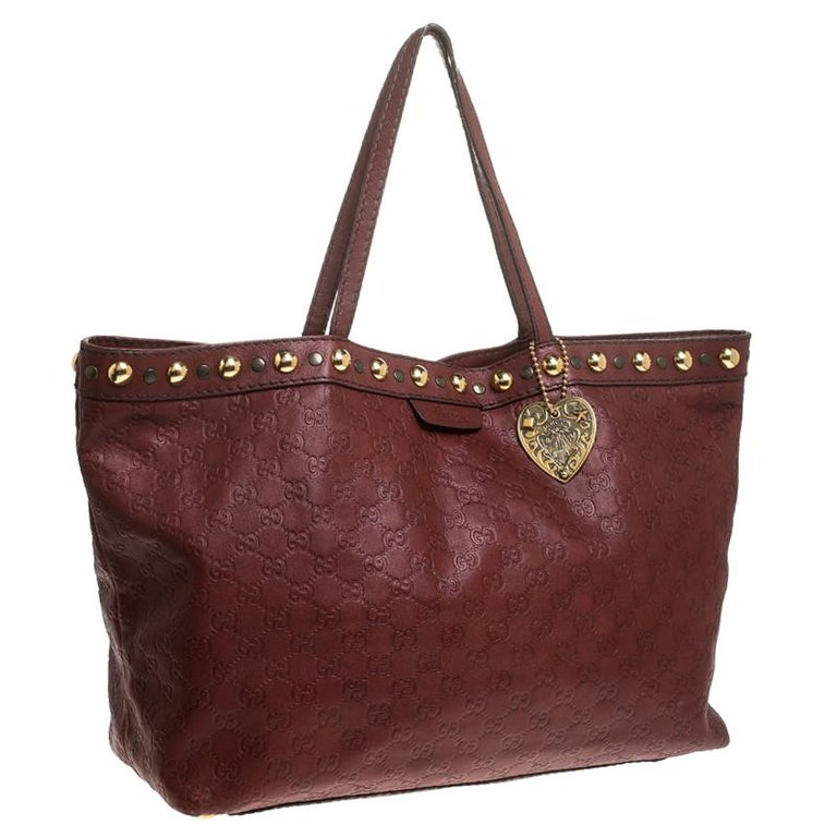 Gucci Maroon Guccissima Leather Large Babouska Tote In Good Condition For Sale In Dubai, Al Qouz 2