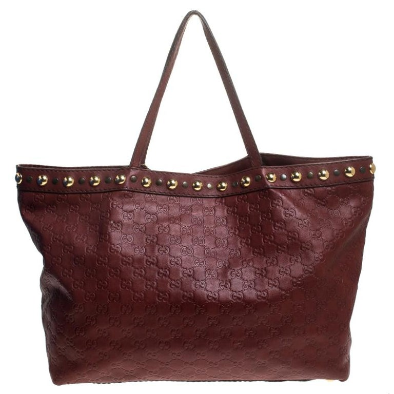 Gucci Maroon Guccissima Leather Large Babouska Tote For Sale 1