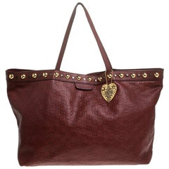 Gucci Maroon Guccissima Leather Large Babouska Tote