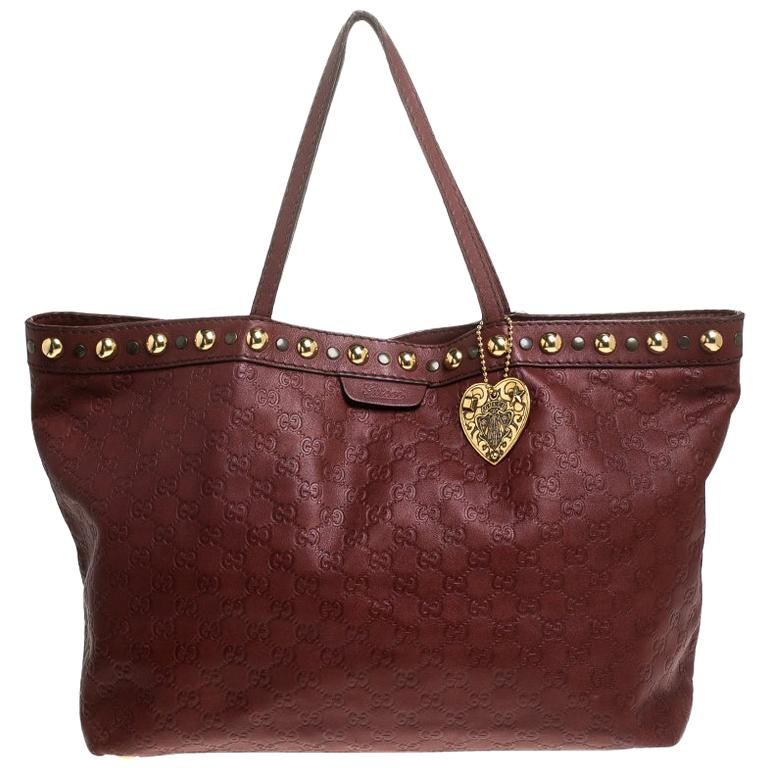 Gucci Maroon Guccissima Leather Large Babouska Tote For Sale