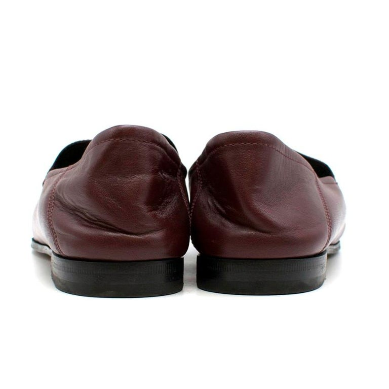 Gucci Maroon Jordaan Collapsible Heel Loafers 38.5 In Excellent Condition For Sale In London, GB