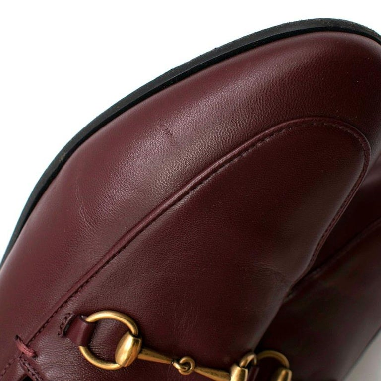 Gucci Maroon Jordaan Collapsible Heel Loafers 38.5 For Sale 1
