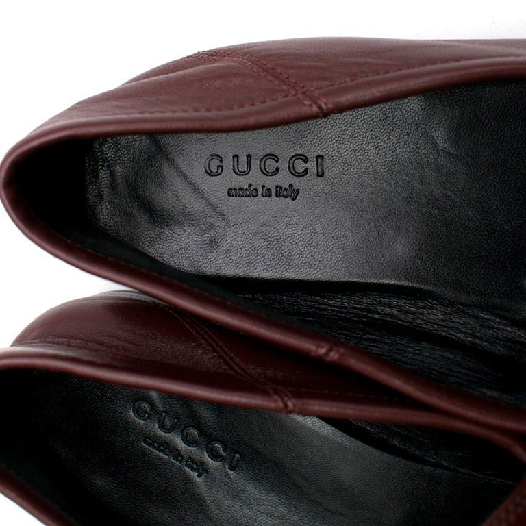 Gucci Maroon Jordaan Collapsible Heel Loafers 38.5 For Sale 2
