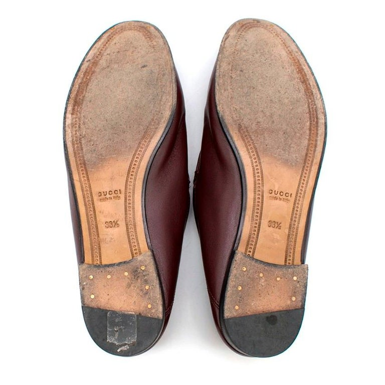 Gucci Maroon Jordaan Collapsible Heel Loafers 38.5 For Sale 3