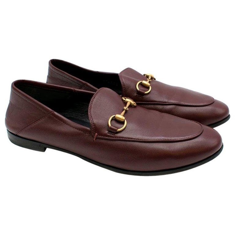 Gucci Maroon Jordaan Collapsible Heel Loafers 38.5 For Sale