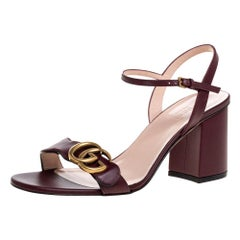 Gucci Maroon Leather Marmont Block Heel Ankle Strap Sandals Size 37.5