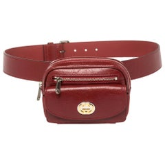 Gucci Maroon Leather Morpheus Mini Belt Bag