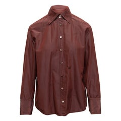 Gucci Maroon Long Sleeve Button-Up Top