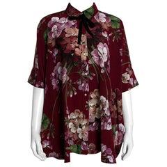 Gucci Maroon Silk Floral Printed Cape Shirt M