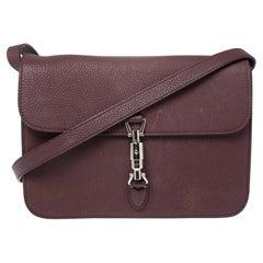Gucci Maroon Soft Pebbled Leather Jackie Flap Shoulder Bag