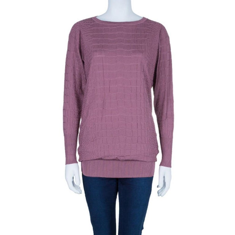 Gray Gucci Mauve Textured Knit Top M For Sale