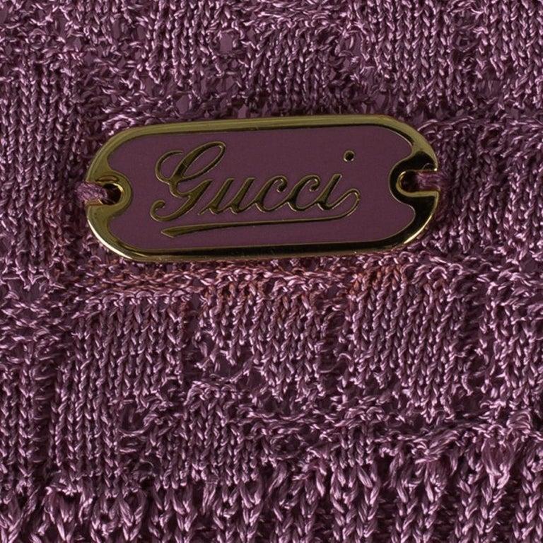 Gucci Mauve Textured Knit Top M For Sale 4