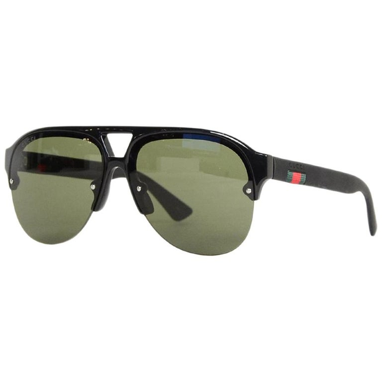 66325779 Gucci Men's Black Aviator Sunglasses w/ Web