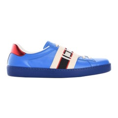 GUCCI MENS BLUE RED STRIPE laced up sneakers (10US)