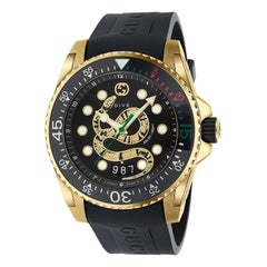 Gucci Men's Dive Gold-Plated Snake Dial Black Rubber Strap Watch YA136219