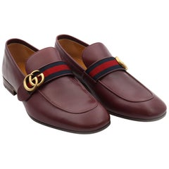 Gucci Men's GG Donnie Web Leather Burgundy Loafers Size 8