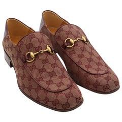 Gucci Men's GG Supreme Canvas Horsebit Burgundy Loafers Size 11